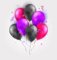 set glossy air 3d flying balloons ribbons vector image