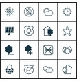 set of 16 ecology icons includes snow fire vector image vector image