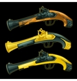 Set of three ancient pistols closeup vector image vector image