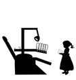 silhouette girl costs with tooth stomatology vector image vector image