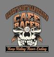 skull cafe racer hand drawingshirt designs biker vector image vector image