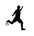 soccer player hits the ball vector image vector image