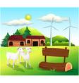 Two goats near the wooden signboards vector image vector image