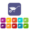 wheelbarrow icons set vector image vector image