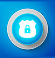 white shield security icon on blue background vector image vector image