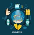 scuba diving round composition vector image