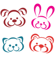 teddy animals portraits icons Outlined toys vector image