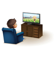 A young boy watching a television vector | Price: 1 Credit (USD $1)