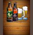 beer bottles and glasses vector image vector image