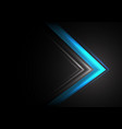 blue light arrow speed direction on black vector image vector image