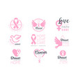 Breast cancer fund set of colorful promo sign vector image
