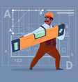cartoon african american builder holding carpenter vector image vector image