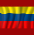 colombia 3d realistic wavy national flag vector image