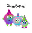 colorful cartoon family of monsters happy vector image