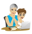 cute grandson helping grandmother to use laptop vector image vector image