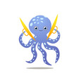 cute smiling blue octopus play at gold cymbals vector image vector image
