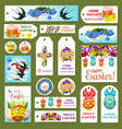 easter tag label and card set cartoon design vector image vector image