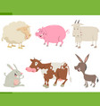 farm animal characters set vector image