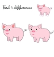 Find differences kids layout for game pig vector image