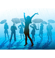 Girl Enjoying the Rain vector image