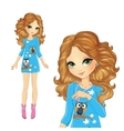 Girl In Dress With Owls vector image vector image