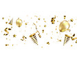 golden confetti with party poppers isolated vector image vector image