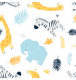 hand drawing family animals pattern vector image vector image