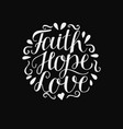 hand lettering with bible background faith hope vector image vector image
