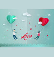 happy valentines day paper heart couple vector image vector image