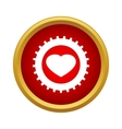 Heart in a gear icon simple style vector image