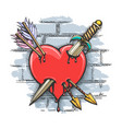 heart pierced dagger and arrows colorful tattoo vector image vector image