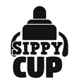 infant sippy cup logo simple style vector image