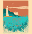 lighthouse on sunset with sea wavesunderwater sea vector image vector image
