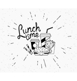 Lunch time vintage label of burger with coffee and vector image