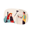 man and woman talking on phone couple speaking vector image