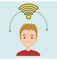 man wifi web internet connected vector image