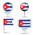 Map pins with flag of Cuba vector image vector image
