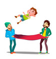 men catching kid boy falling out of window on fire vector image