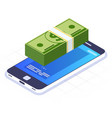 money transaction via mobile phone money stack on vector image vector image