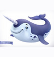 narwhal cartoon character funny animal 3d icon vector image vector image