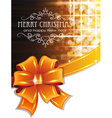 Orange Christmas background with bow vector image vector image