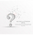 round question mark low poly wire frame on white vector image vector image