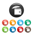 safe wallet icons set color vector image vector image