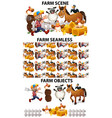 seamless background design with many farm animals vector image