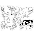 set of farm animals vector image vector image