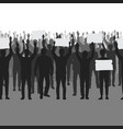 silhouettes protesting people with hands up vector image vector image
