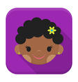 Smiling african girl face app icon with long vector image vector image