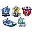 soccer badge design in set vector image vector image
