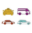 taxi vehicle icon set color outline style vector image vector image