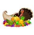 thanksgiving horn of plenty cornucopia full of veg vector image vector image